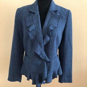 Chadwick's Career Jacket Size8 Blue Cropped Ruffle